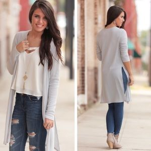 Grey Stretch Ribbed Side Slit Duster Cardi NWT
